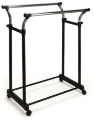 Xenos Kledingrek dubbel - zwart/chroom - 57,5x81x160 cm
