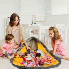 Reayou - Opbergkleed - Speelgoed Organizer - Speelmat voor Kinderen - Lego opbergzak - 2-in-1 speelkleed en opbergzak - Opbergmand - Geel + Blauw