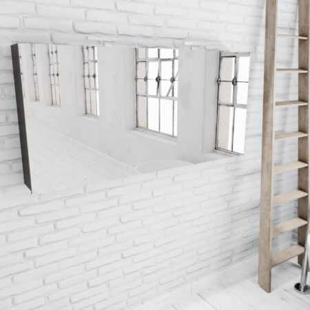 Afbeelding van Zaro Beam donker eiken spiegelkast 150x70x16cm 3 deuren