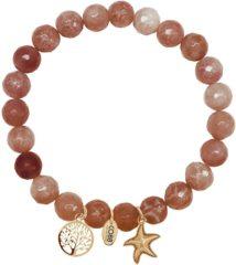 Rode CO88 Collection 8CB-90008 - Armband met bedels - natuursteen en staal - Jade 8 mm - levensboom en zeester - one-size - multi / rood / bruin / goudkleurig