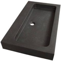 Saniclass Black Spirit meubelwastafel 80cm 1 wasbak 1 kraangat natuursteen zwart 2381