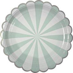Groene Meri Meri - Borden - Strepen Mint - 8 stuks - 23cm