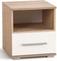 FD Furniture Nachtkastje Lima 44 cm hoog in sonoma eiken met hoogglans wit