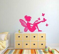 Rosami Decoratiestickers Sticker Fee met vlinders roze 40 x 25 cm | Rosami