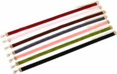 Koraalrode Velvet Choker Ketting | Set van 7 stuks | 30 + 7 cm | Fashion Favorite
