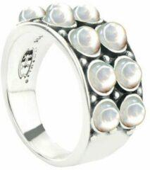 Symbols 9SY 0061 54 Zilveren Ring - Maat 54 - Parel - Wit - Geoxideerd
