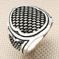 Zijou Zilveren ring heren breipatroon -19.25 mm / maat 60