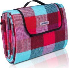 Sens Design Picknickdeken, lichtblauw-rood-bordeaux, ruit motief, picknickkleed, 195 x 150 m, waterdicht, campingdeken, outdoor plaid, stranddeken