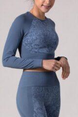 Blauwe REVIVE Sportswear REVIVE seamless - cropped - Long Sleeve - shirt VIANE met bloem design