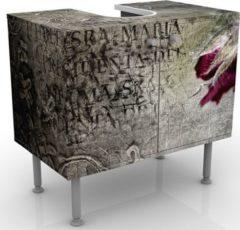 PPS. Imaging Waschbeckenunterschrank - Mystic Flower - Blumen Badschrank Grau