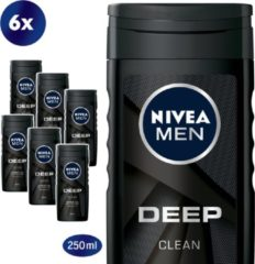 NIVEA FOR MEN Deep Clean Shower gel - multiverpakking 6 x 250 ml
