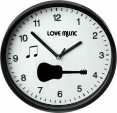 Witte Akyol Moderne Zwarte Klok / Love music / Muurklok Zwart / Wandklok Zwart / 23cm / Ronde Muurklok / Wandklok