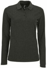 Grijze Polo Shirt Lange Mouw Sols PERFECT LSL COLORS WOMEN