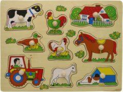 Charl's Toys Houten Knoppuzzel Boerderij en Tractor