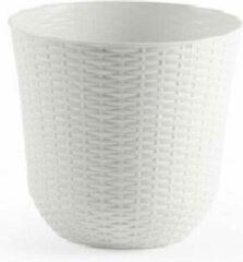 Grijze Forte Plastics 10x Witte plantenbakken/bloempotten 25 cm - Woon/tuinaccessoires/decoratie - Ronde bloempotten/plantenpotten voor binnen/buiten