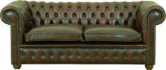 Traditionele 2 1/2 zits pieced Delta chesterfield bank in antiek rood rundleder