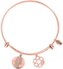 Goudkleurige CO88 Collection Sense 8CB 10010 Stalen Armband met Hangers - Zirkonia Hand van Fatima en Harten - One-size - Rosékleurig