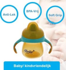 Oranje Alvär Alvar baby fles / soft grip / grote dop / anti-lekbescherming baby flessen