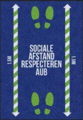 Blauwe MatStyles Vloerkleed Tapijt Message Mat - Sociale Afstand Respecteren AUB - 85x60 - COVID-19 -Wasbaar