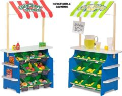 Paarse Melissa & Doug Houten groente en limonadekraam - omkeerbare luifel, 9 bakken en krijtbordjes