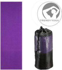 Trendy sport Trendy Yogamat Toalha Handdoek - Yoga mat - Fitnessmat - wasbaar - 183 cm lang x 63 cm breed x 2 mm dik - Paars - incl. draagtas