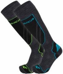 Nordica Wintersportsokken - Maat 43-46 - Unisex - donker grijs - zwart - blauw - groen