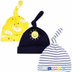 Blauwe JillyBee - Newborn - Mutsje - Mutsjes - 3pack - Zon - Happy - Wolkjes