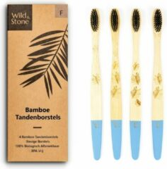 Wild & Stone – Bamboe Tandenborstel Hard – 4 Stuks – Volwassenen - Eco – Duurzaam - Blauw
