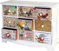 Heute-wohnen Kommode Venlo, Schubladenschrank Shabby-Look, Vintage, 9 Schubladen 60x79x30cm