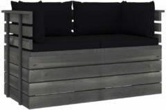 Zwarte VidaXL Tuinbank 2-zits met kussens pallet massief grenenhout