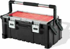Keter Cantilever - Gereedschapskist - Combo - Zwart-rood - 56.7x31.4x24.5cm En Yourkitchen E-kookboek - Heerlijke Smulrecepten