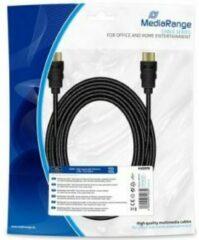 Zwarte MediaRange HDMI High Speed met Ethernet kabel, vergulde contacten, met textielmantel, 5.0m