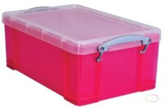 Really Useful Boxes RUB gekleurde transparante opbergdoos 9 l roze