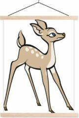 Bruine TextilePosters Een baby hert tegen een witte achtergrond schoolplaat platte latten blank 90x120 cm - Foto print op textielposter (wanddecoratie woonkamer/slaapkamer)