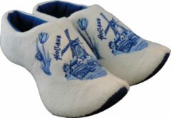 Witte Holland slippers by Wilhelmus Klompsloffen Delftblue maat 16-19