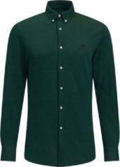 Donkergroene WE Fashion Heren slim fit overhemd van piquéjersey - Maat L