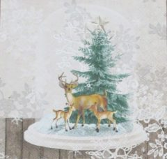 Beige Ambiente Servetten Deers in Glassbell 33 x 33 cm