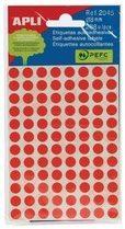 Rode Apli ronde etiketten in etui diameter 8 mm, rood, 288 stuks, 96 per blad (2046)