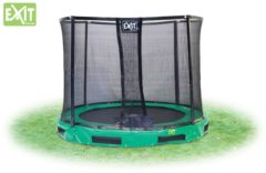 Groene EXIT InTerra verlaagde trampoline rond met veiligheidsnet - 366 cm - groen