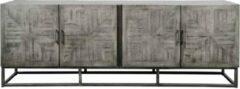 Duverger® Cross massive mango - dressoir - grijs antiek - 4 deuren - frame geschuurd metaal