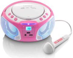 Lenco SCD-650 - Radio CD-speler met karaokemicrofoon en LED verlichting - Roze