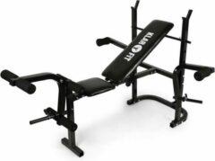 Klarfit Workout halterbank met berging armcurler beencurler 160 kg zwart