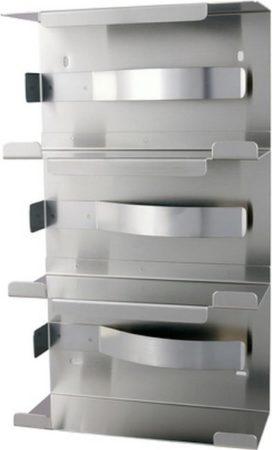 Afbeelding van Roestvrijstalen MediQo-line MediQoline handschoendispenser trio RVS
