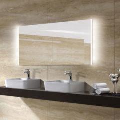Zilveren Diamond Line Badkamerspiegel Double 120x60cm Geintegreerde LED Verlichting Verwarming Anti Condens Lichtschakelaar Dimbaar