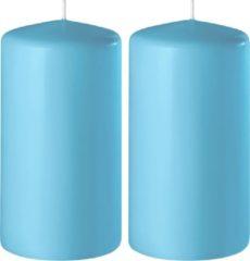 Enlightening Candles 2x Turquoise cilinderkaarsen/stompkaarsen 6 x 15 cm 58 branduren - Geurloze kaarsen turquoise - Woondecoraties