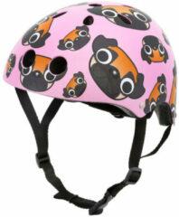 Roze Mini Hornit Lids Fietshelm voor Kinderen - met LED achterlicht - Pug Puppies (M)