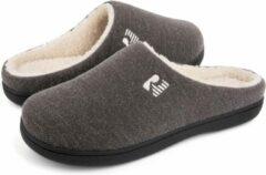 Pantoffels Heren - Sloffen - Maat 40/41 - Grijs - Anti-slip - Comfeet