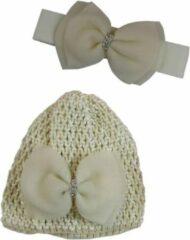 Jessidress Baby Haarband met Muts gedecoreerd met luxe Haarstrik - Beige