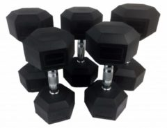 Zwarte Tunturi Rubber Dumbbell Set - Dumbellset - 12-20 kg (5 sets - 12/14/16/18/20kg)