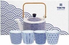 Blauwe Tokyo Design Studio Theepot Nippon Blue 0.8 l - incl. 4 kopjes